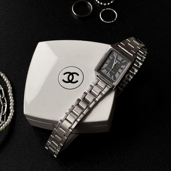 casio black face classic silver metal watch