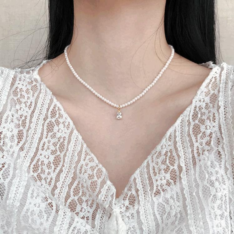 1081 3-ways pearl cubic chain layered necklace