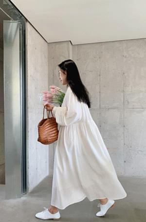 Marang French Shirring Long Dress