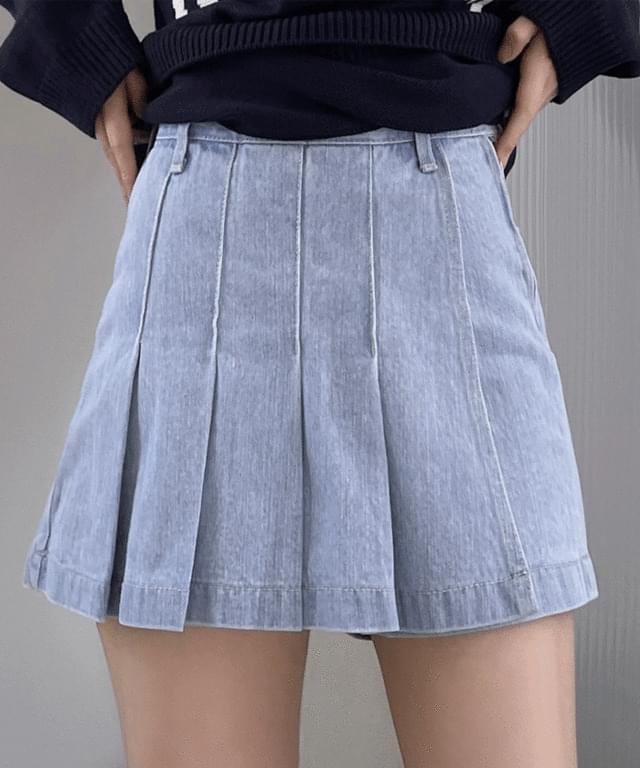 Sentini denim pleated skirt trousers