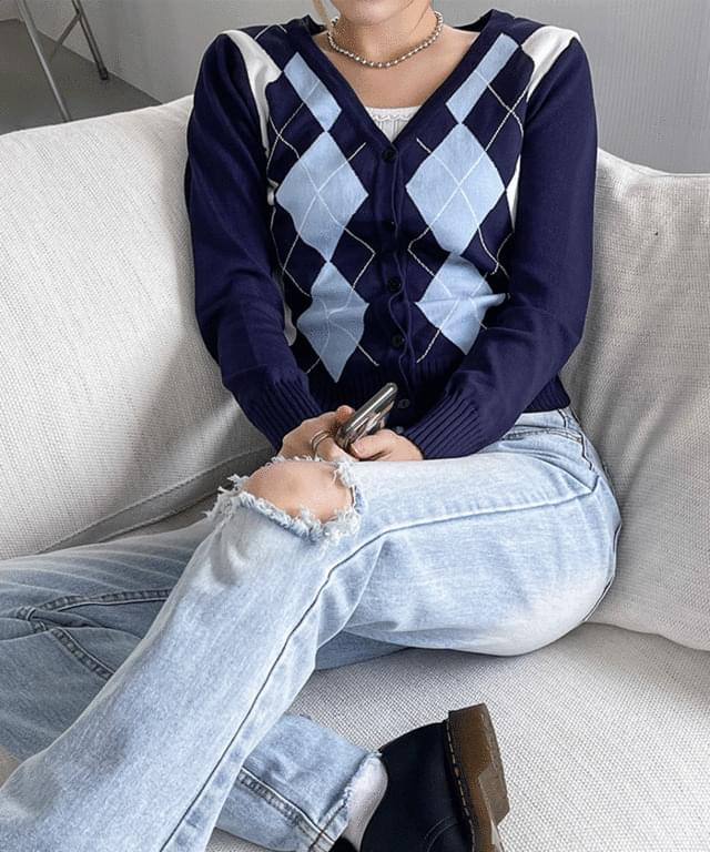 Stina V-Neck Argyle Knitwear Cardigan