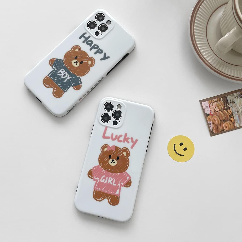 Happy Lucky Couple Bear Full Cover iPhone Case