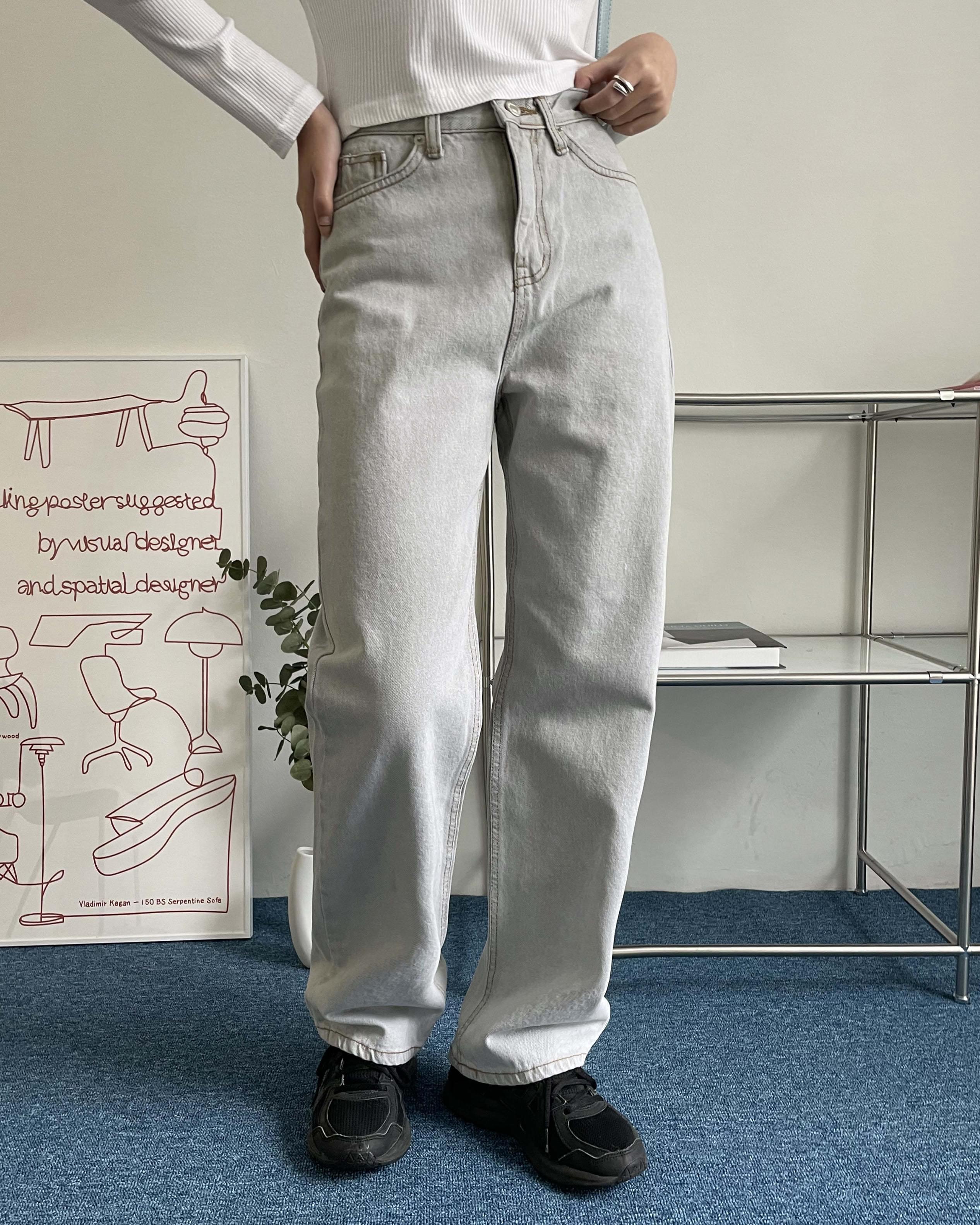 Deer Faded Gray Denim Long Semi-Wide Pants