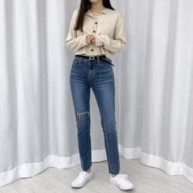 Rose Split Slim Denim Pants