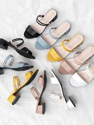 Isshu 2way two material mule & sling bag sandal heel 9045 ♡ 9th sold out♡