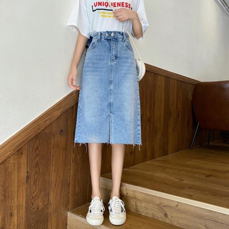 Simple A-line denim midi skirt