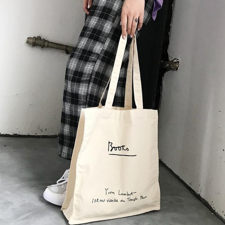 Lettering Canvas Square Tote Bag