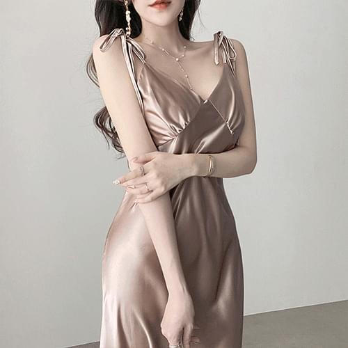 Kanadaran Rose Gold Silky Shine Gloss Shoulder Ribbon Slip Dress
