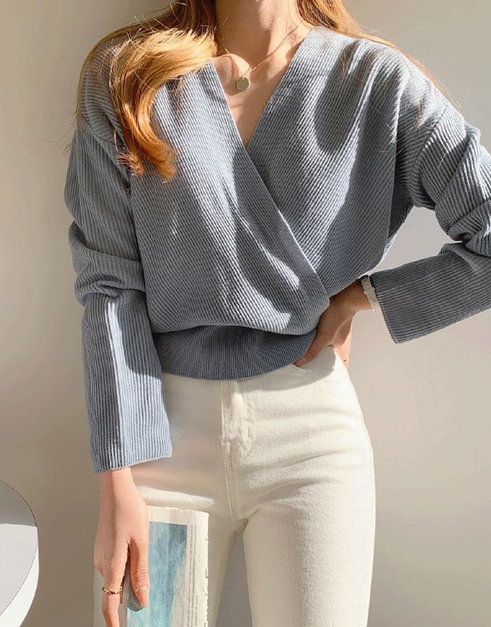 韓國空運 - Aria Yeri Cross Wrap Knitwear 針織衫