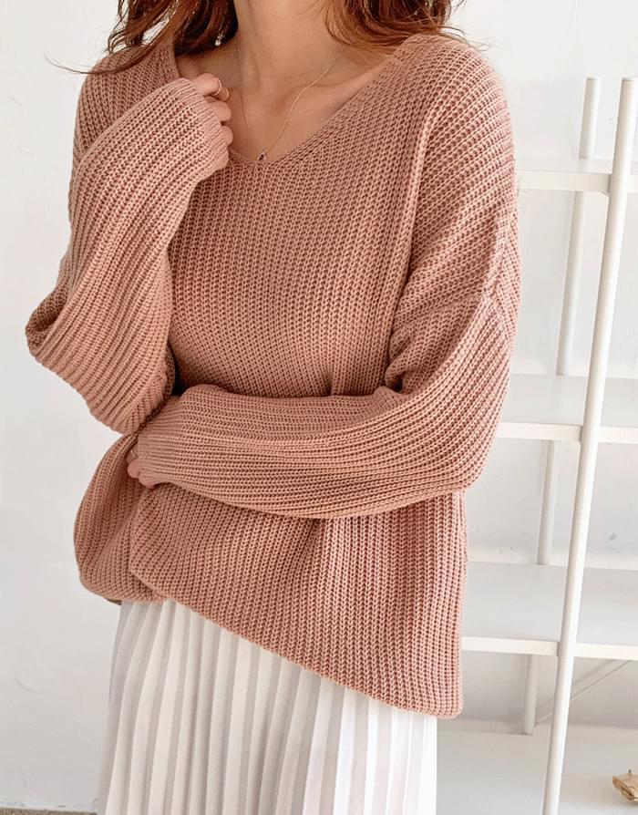 Judy Rouge Overfit V-Neck Knitwear