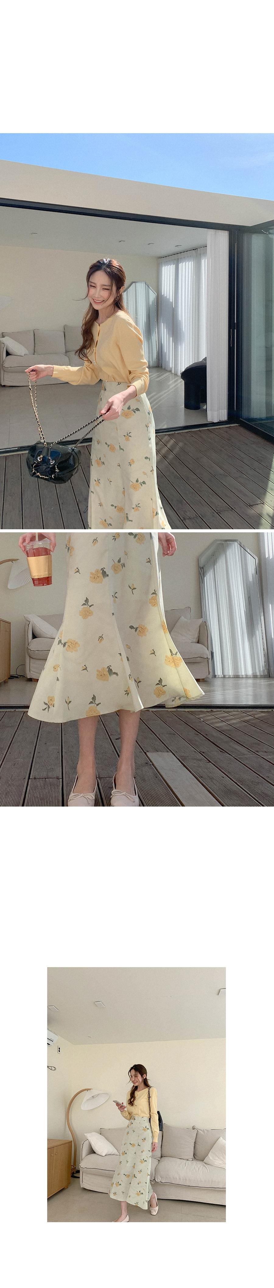 Spring Flower Long Skirt