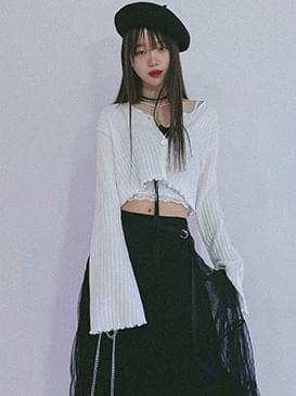 韓國空運 -  Knitwear paper fence cropped cardigan 針織外套