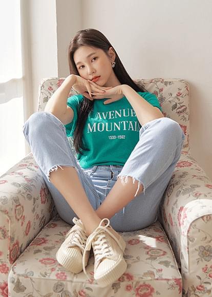 韓國空運 - Mountain lettering short-sleeved T-shirt 短袖上衣
