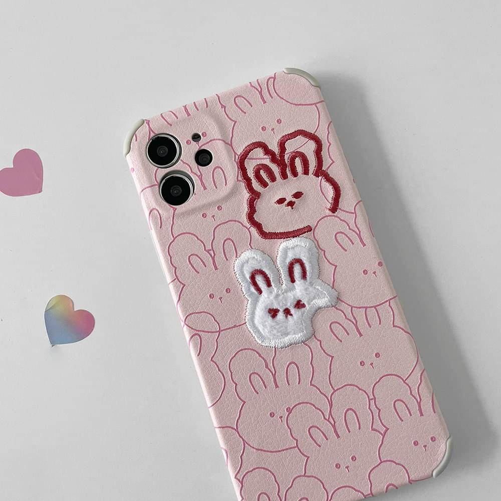 Rabbit Pattern Embroidery Full Cover iPhone Case
