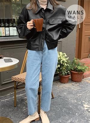 jk3893 Tudi Leather Short Jacket