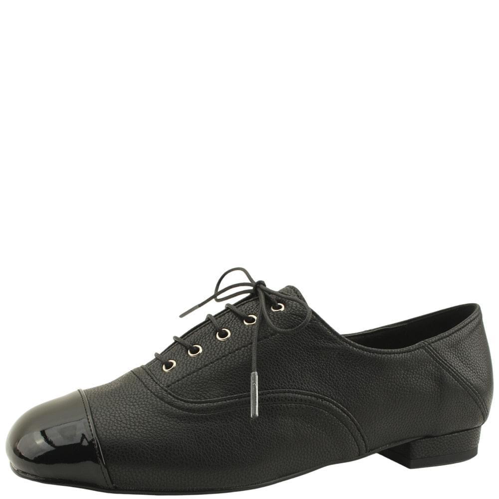 韓國空運 - Square-toe combination lace-up loafers black 樂福鞋