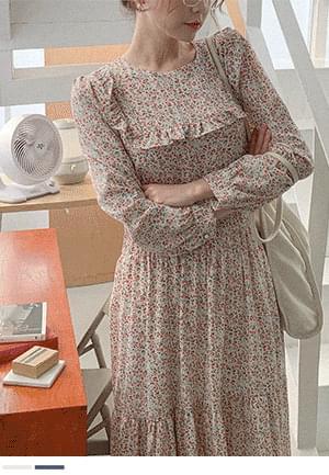 韓國空運 - Make you smile, frill flower long Dress 長洋裝