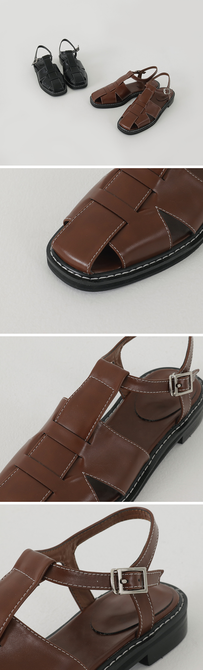 Stitched leather flat sandals