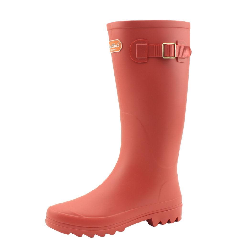 Long boots boots women rain boots orange