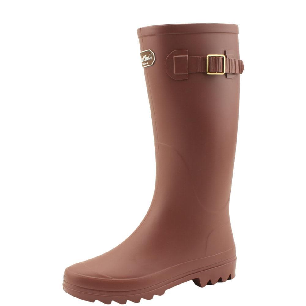 Long boots boots women rain boots brown