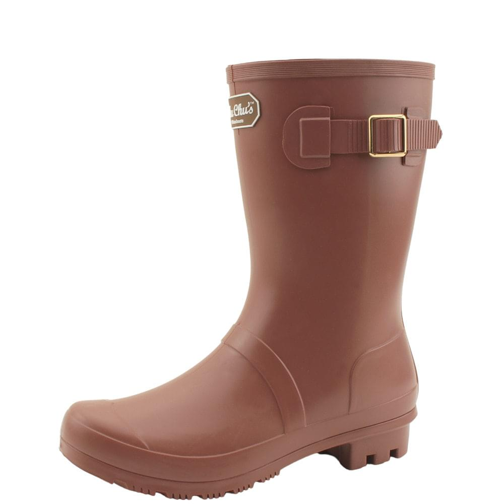 Middle Boots Women Rain Boots Brown