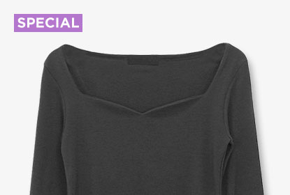 1 Black T-shirt, 7 Styling : Heart Neck Slim T-shirt