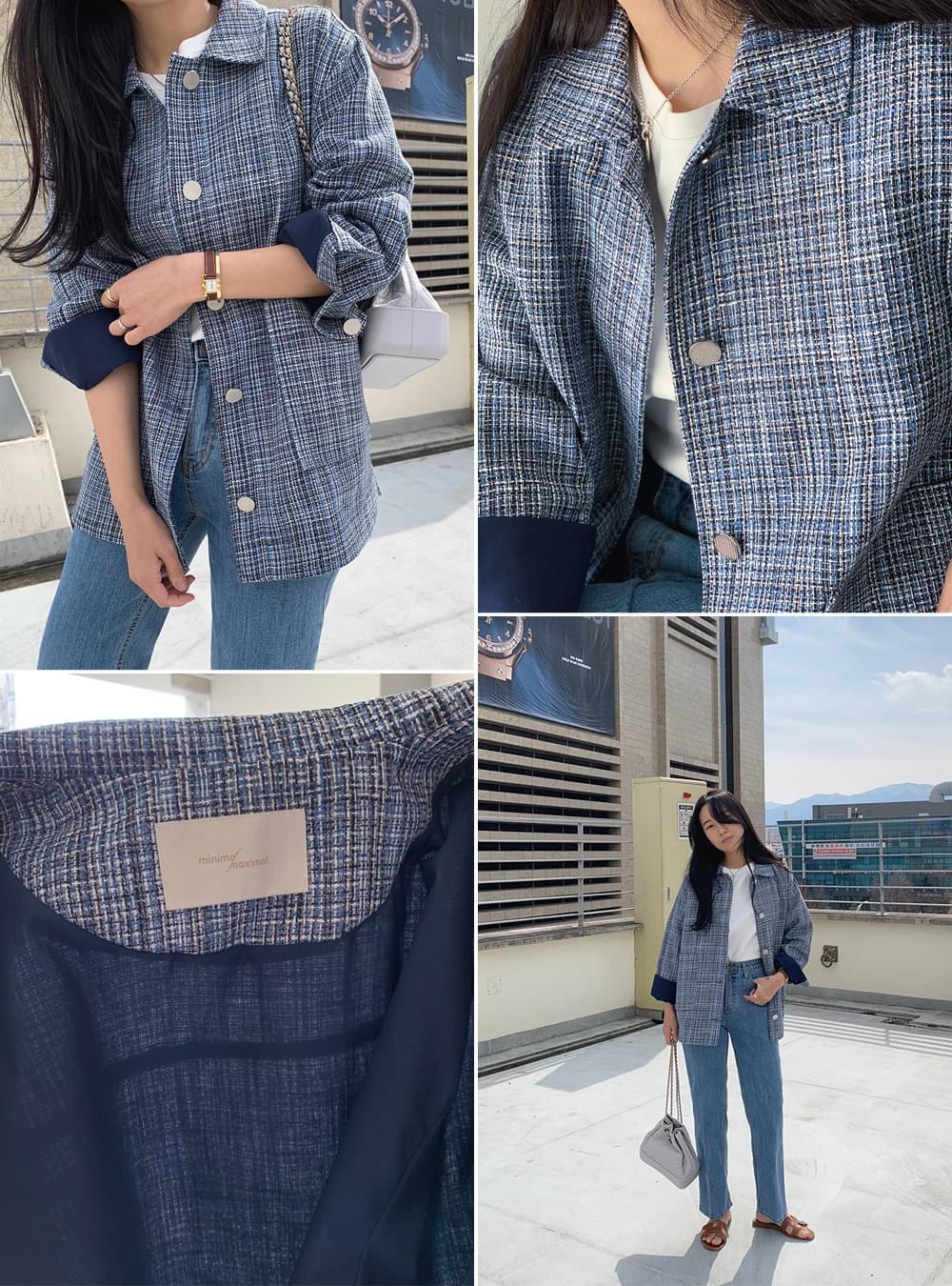 MMMM/ Blue Casual Tweed Jacket