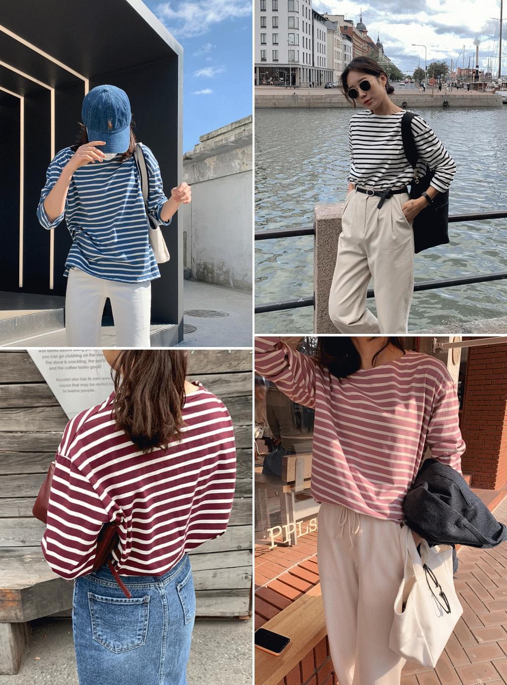 PBP.Soft Stripe Loose-fit Fit Straight Tee