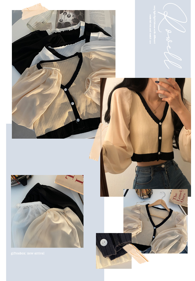 Lowell Color Sleeve Chiffon See-through Crop Knitwear