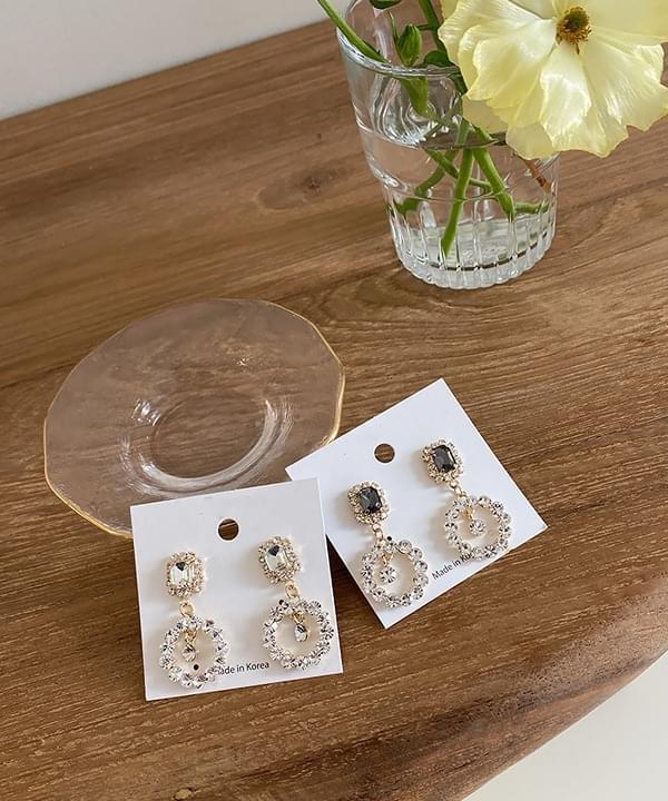 Darling drop cubic earrings 2color