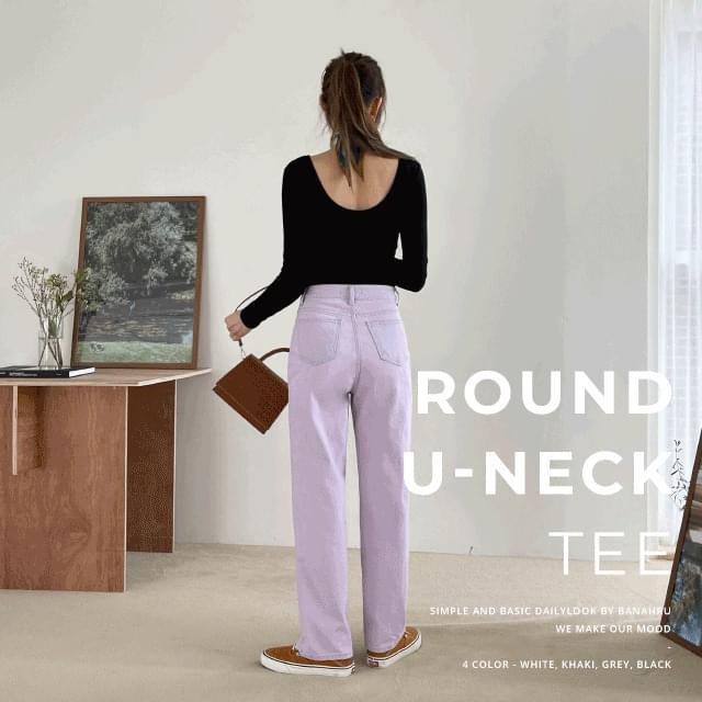 Soft Round U Neck Two-Way Slim Tee