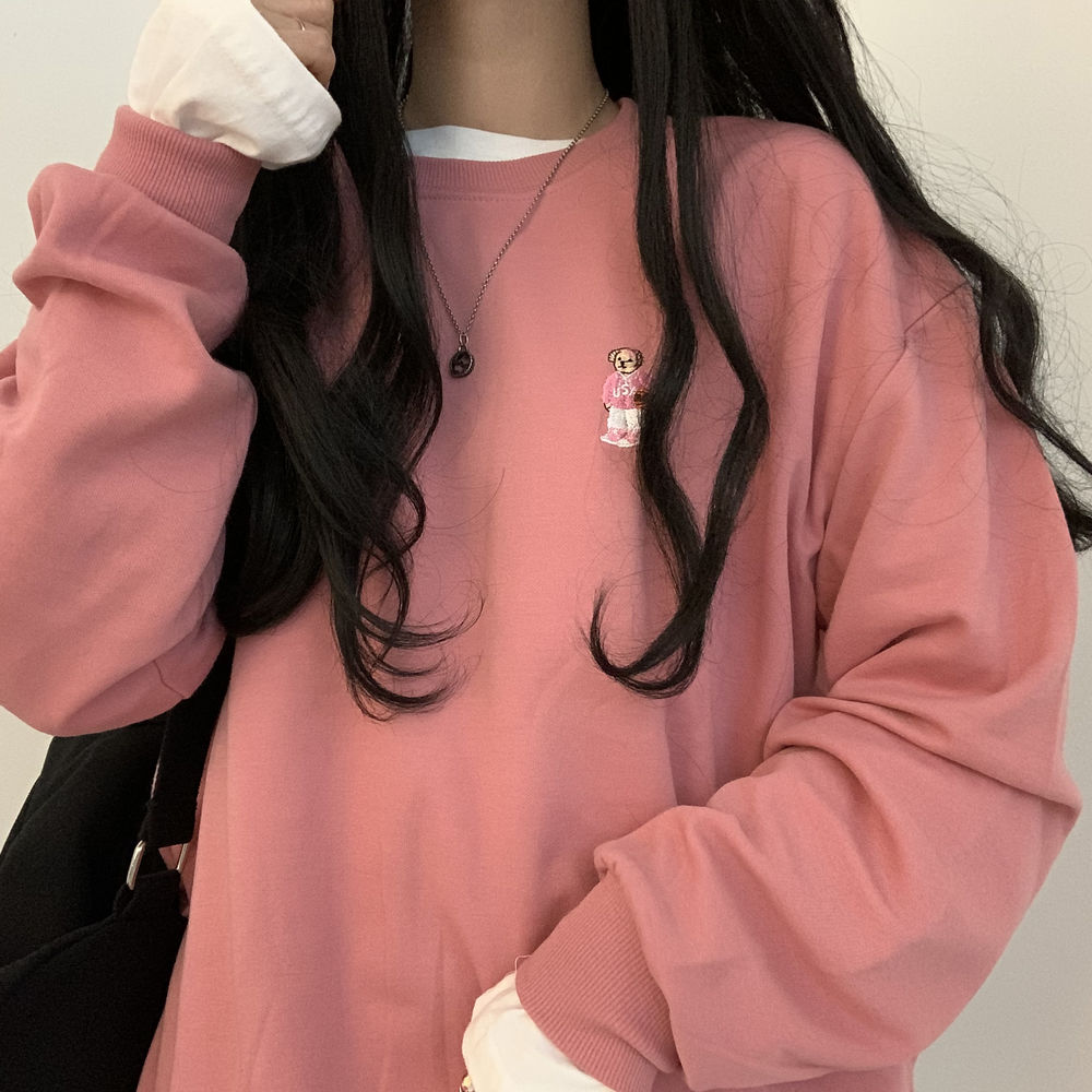 Pink Bear Patch Sweatshirt
