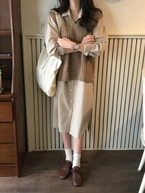 Log Wool Knitwear Vest-wool 60%