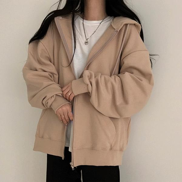 Overfit plain hood zip-up