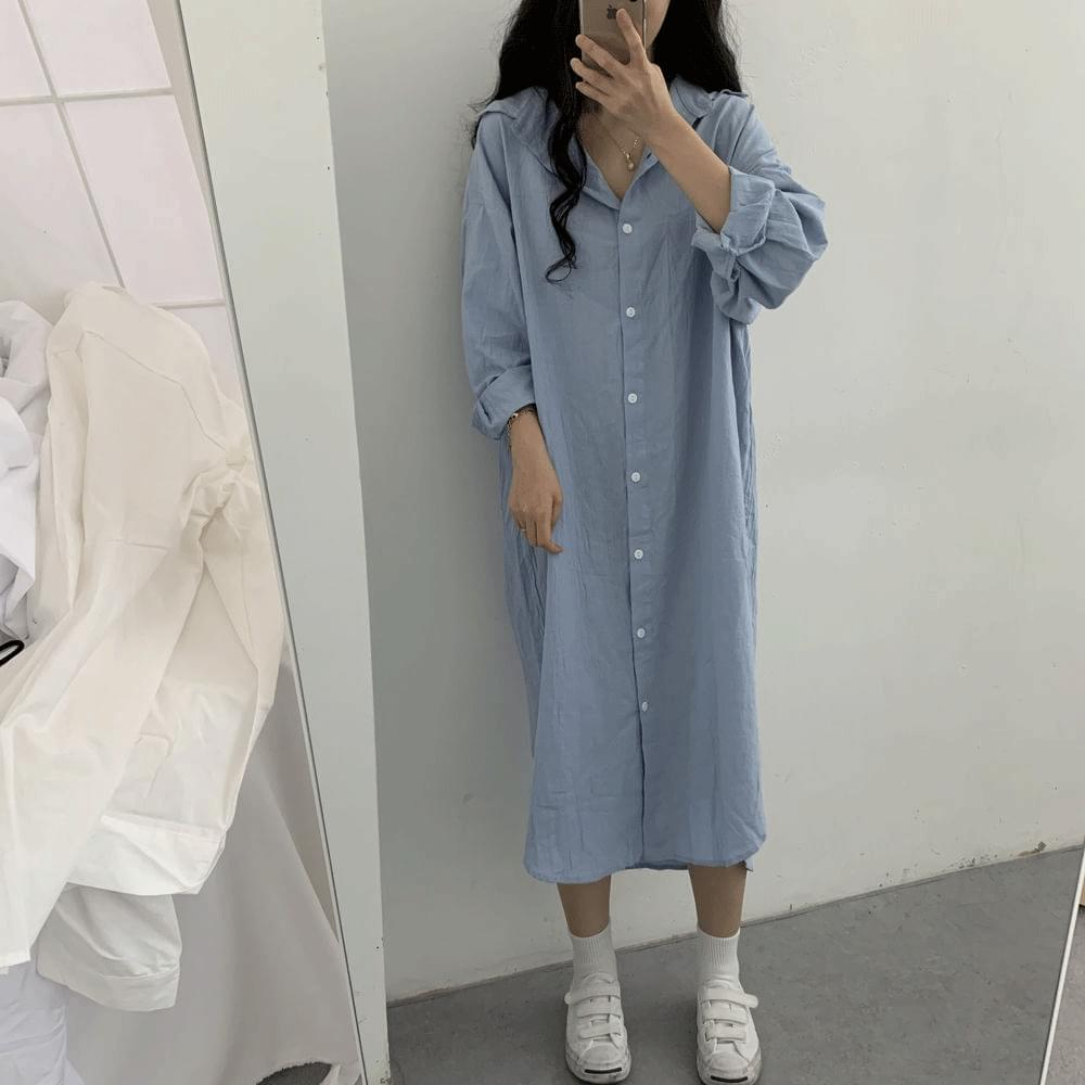 韓國空運 - Long shirt Dress 長洋裝