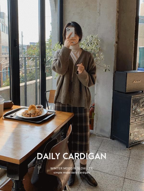 Post Loose-fit Wool Cardigan-50% wool