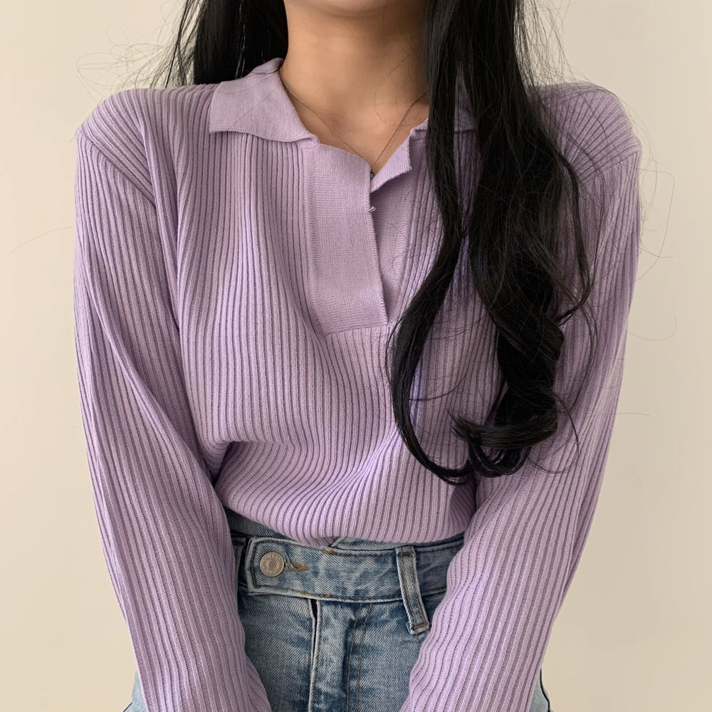 Split Collar Ribbed Knitwear