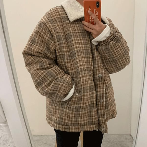 Cute little wool collar check padding