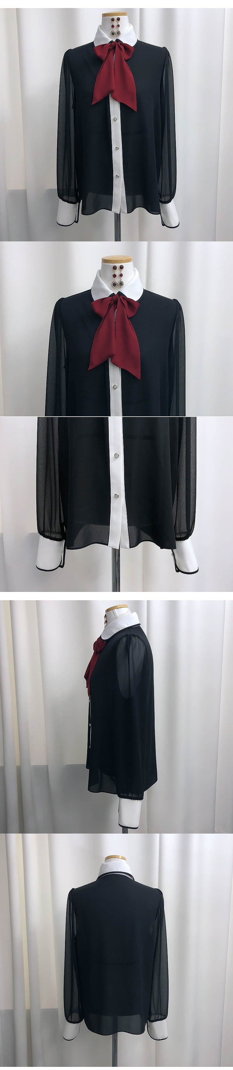 See-through color blouse -one color