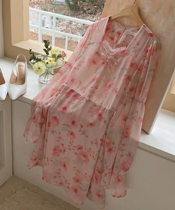 Picnic Flower Chiffon Dress 2color