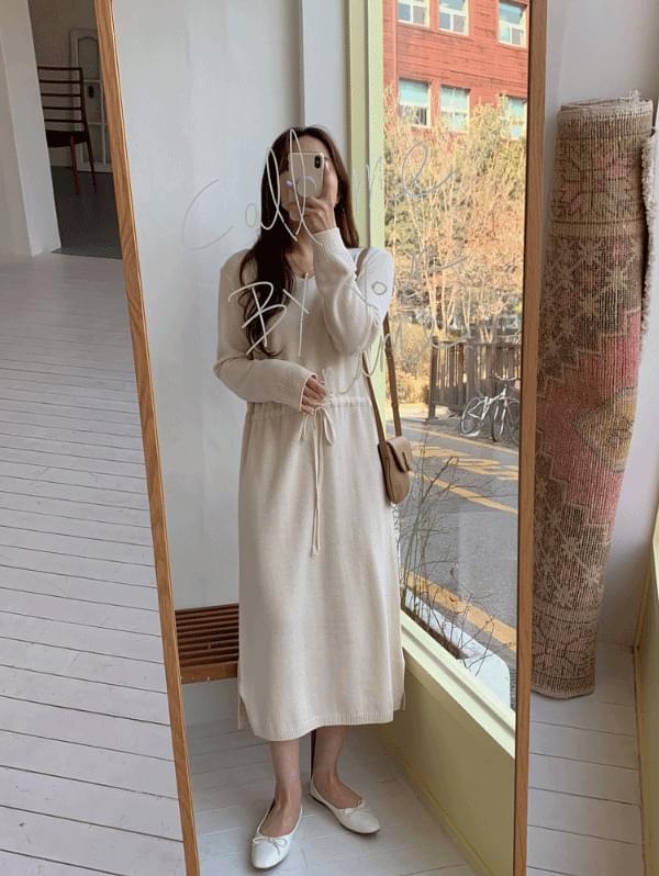 韓國空運 - Deal String Knitwear Dress 及膝洋裝