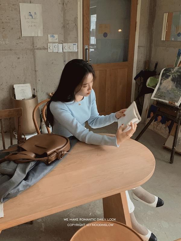 韓國空運 - Lemon Ribbed Round Knitwear 針織衫