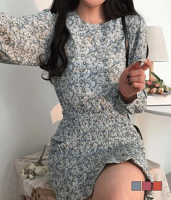 Acacia Flower Smoke Banding Mini Dress 迷你短洋裝