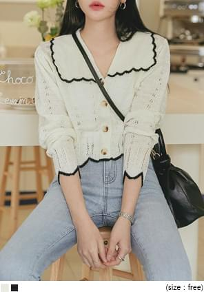 Contrast Scalloped Edge Cardigan