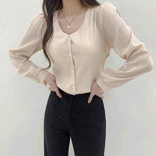 Pastel V-Neck marine blouse T#YW749 (Delayed delivery)