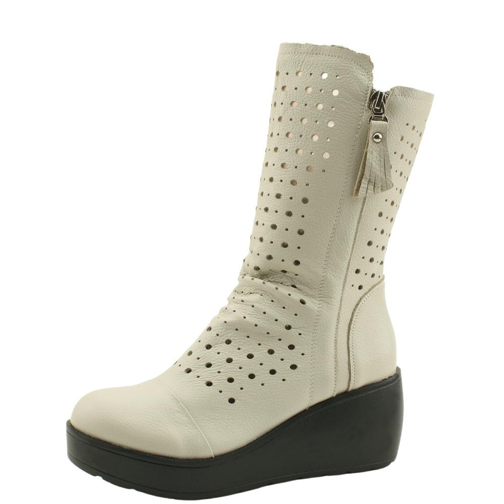 Beige Leather Punching Spring Summer Whole Heel Boots