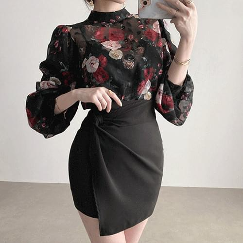 Banana Flannel Puff Rose Chiffon See-through Blouse 2color