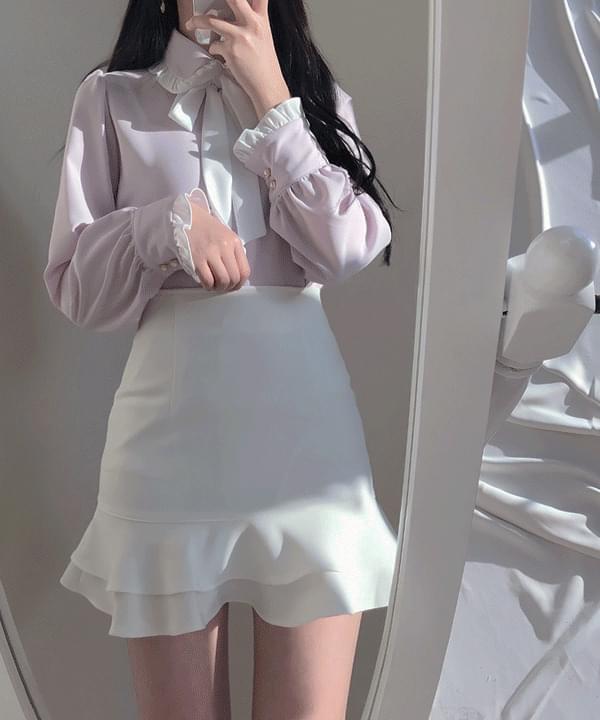 荷葉邊點綴 領綁帶珍珠釦襯衫上衣