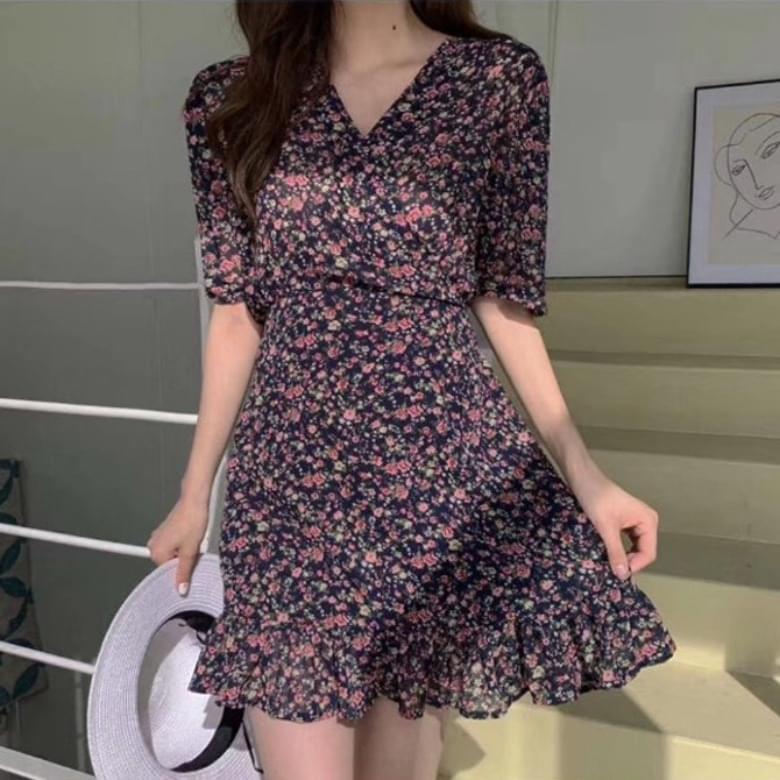 Chiffon Flower Short Sleeve Mini Dress