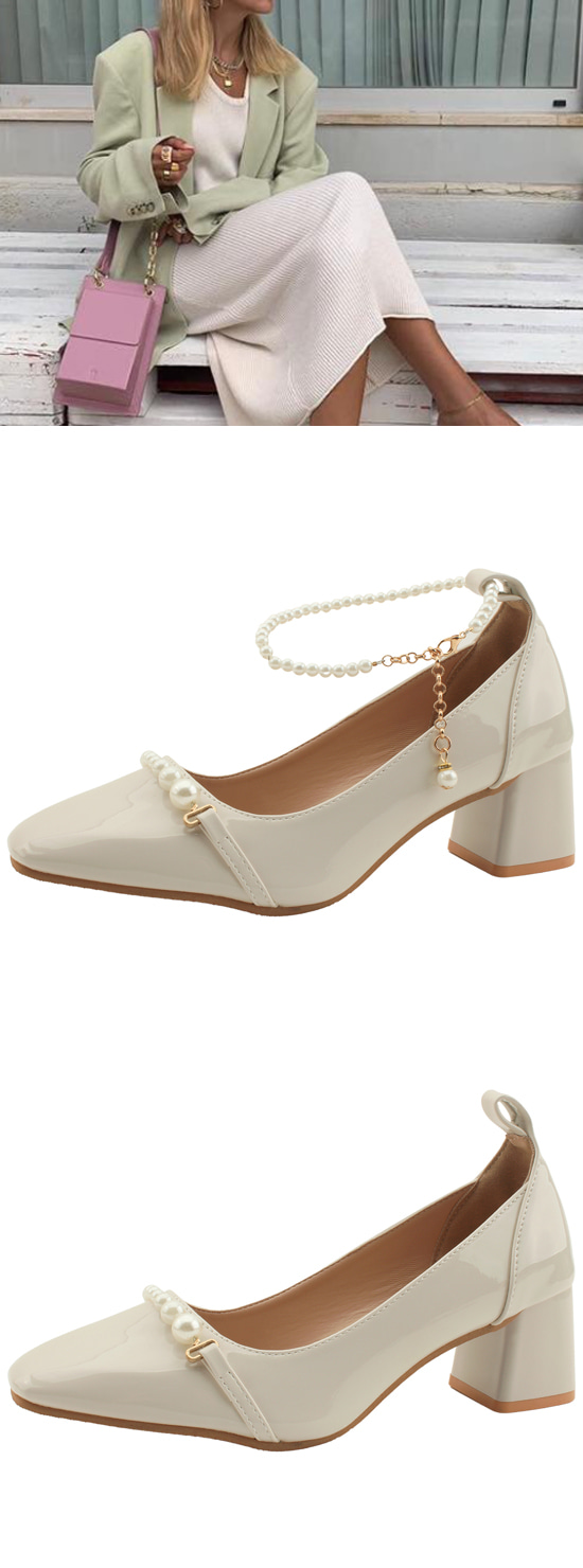 Pearl ankle strap enamel middle heel shoes